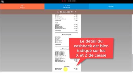 Le cashback bien présent sur les X et Z de caisse