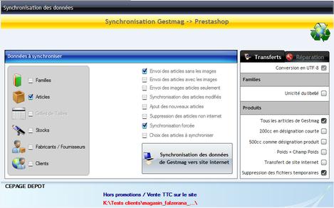 eGestmag -Synchro des données entre Gestmag et PrestaShop