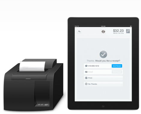 Square wallet et imprimante ticket de caisse