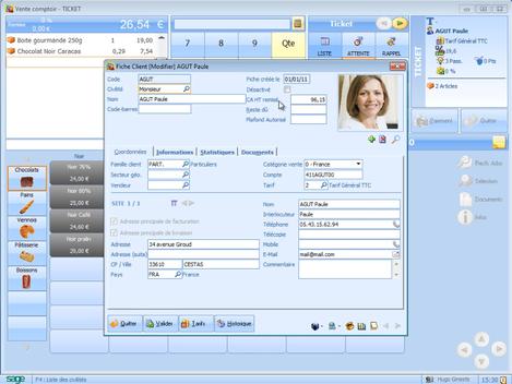 Sage ApiCommerce et Ciel Point de Vente: fiche client dans l'écran de caisse