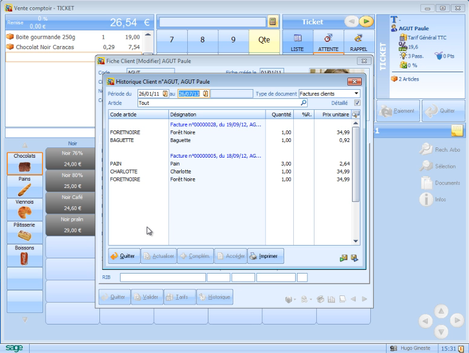 Sage ApiCommerce et Ciel Point de Vente: Historique client dans l'écran de caisse