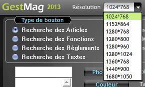Résolution d'écran utilisée par Gestmag 2013