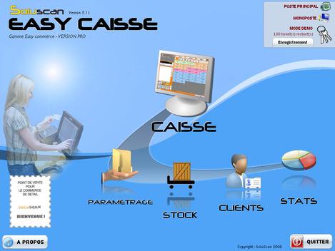 Menu principal du logiciel Easy Caisse