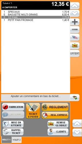 Ticket de caisse à l'écran