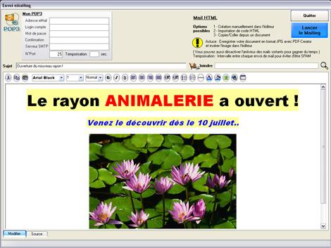 Editeur HTML pour l'envoi d'emailing