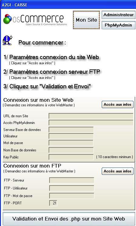 Paramétrage d'OS-Commerce * dans A2GI-Caisse *