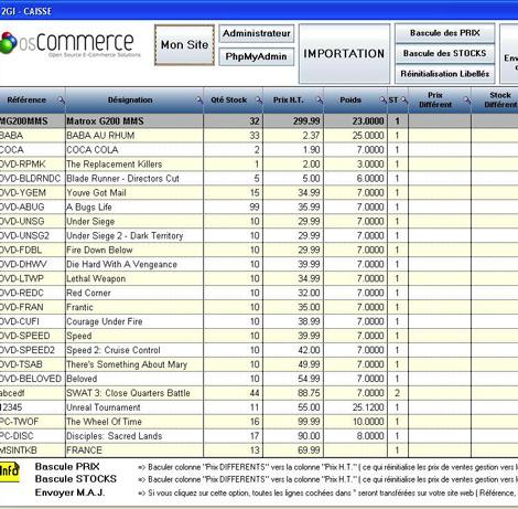 Synchronisation des articles entre OS-Commerce * et A2GI-Caisse *