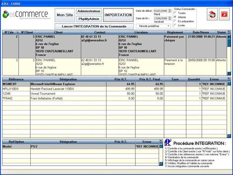 Importation des commandes clients dans le tableau d'e-commerce