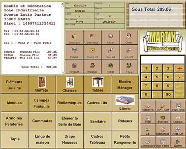 logiciel de caisse ciel point de vente: l'écran de caisse