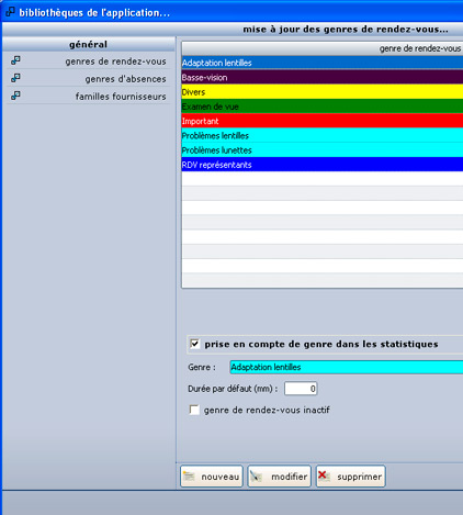 Les différents types de rendez-vous identifiés par couleur