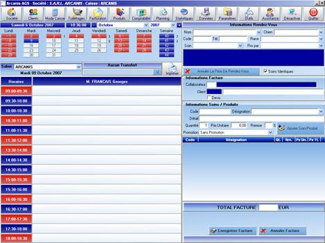 Fenêtre de travail du logiciel de salon de toilettage Arcanis AGS