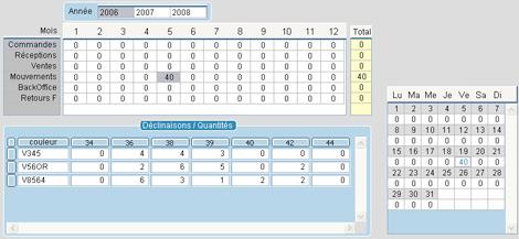 statistiques dans la fiche article, pour chaque déclinaison taille/couleur, jour par jour