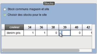 Stock e-commerce affiché dans la fiche article du logiciel de caisse