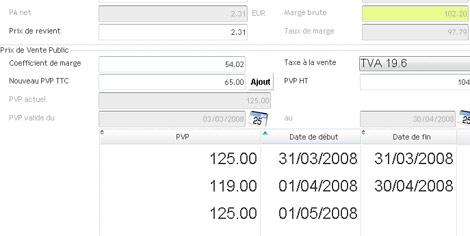 Blitz * : Les tarifs de vente d'un article