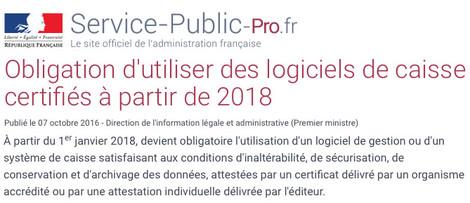 Extraits de l'Article de l'Administration fiscale française concernant le logiciel de caisse certifié 2018 (Marque NF525 ou attestation fiscale directe)