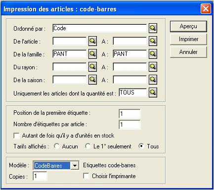 logiciel de caisse ciel point de vente: impression d'étiquettes codes-barres