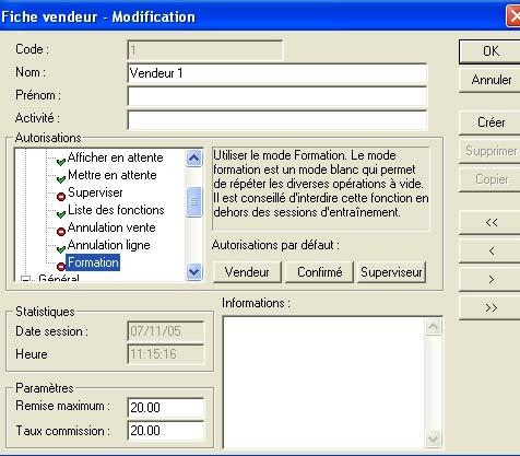 logiciel de caisse ciel point de vente: les droits d'accès des vendeurs