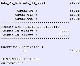 ticket de caisse avec points de fidélité dans ciel point de vente 2006