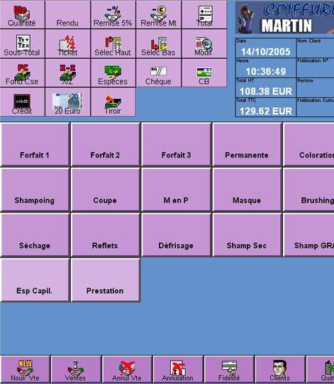 logiciel de caisse ciel point de vente: l'écran de vente et la caisse