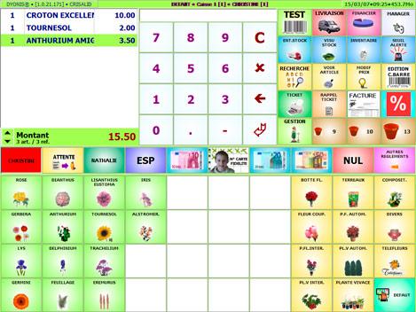 Ecran de caisse du logiciel pour fleuriste Dyonis