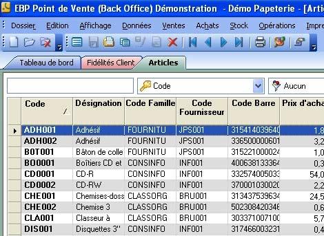 logiciel de caisse EBP Point de vente: le back-office