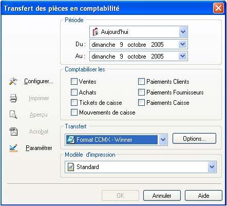 logiciel de caisse ebp point de vente: export comptable