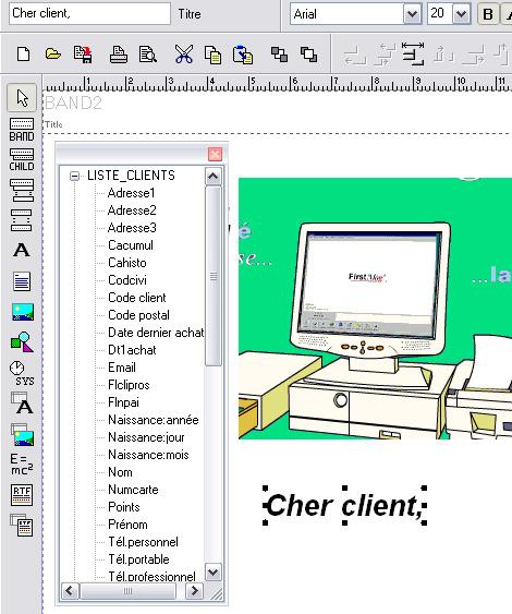 Editeur de texte pour la création d'un mailing postal