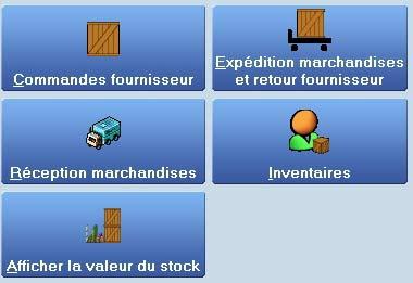 logiciel de caisse front shop: le menu gestion de stock