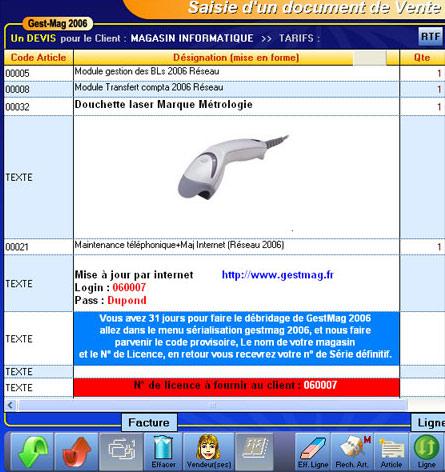 logiciel de caisse gestmag 2006: une facture personnalisée