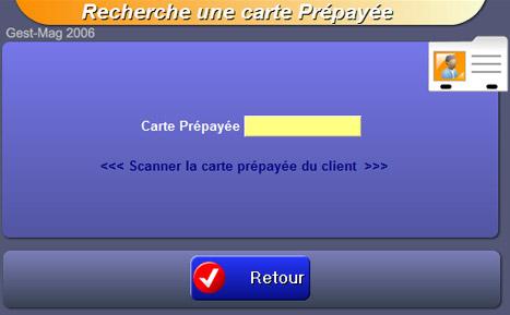 logiciel de caisse gestmag 2006 42: recherche d'une carte prépayée