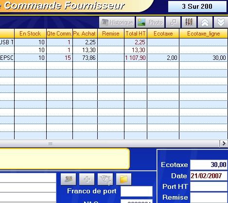 commande fournisseur avec stock en cours et écotaxe