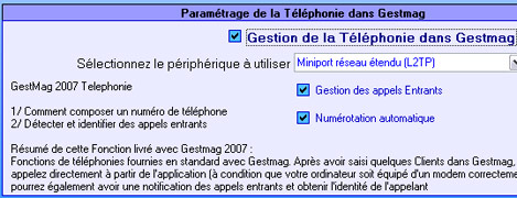 Paramétrage de la téléphonie dans Gestmag 2007