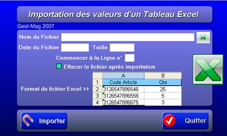 Importation d'un tableau Excel