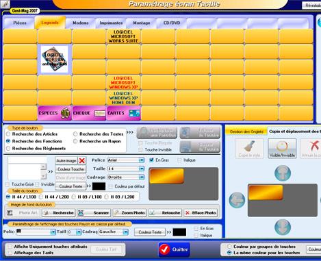 Gestmag 2008 Vision: paramétrage de l'écran de caisse