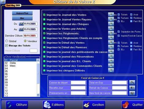logiciel de caisse gestmag 2005: la clôture de caisse
