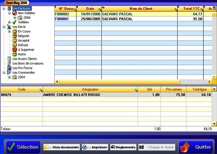 logiciel de caisse gestmag 2006: fenêtre de recherche de documents par arborescence