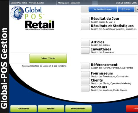logiciel de caisse globalpos: menu principal