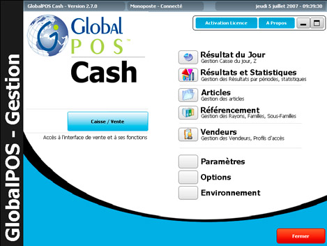 Menu de GlobalPos Cash