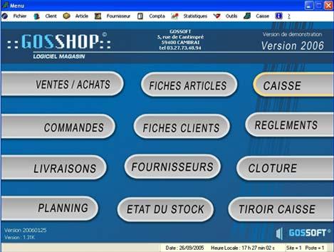 logiciel de caisse gosshop: menu principal