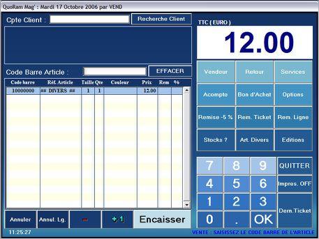 écran de caisse de quoram