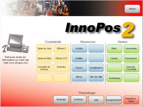 Menu général d'InnoPos 2.5