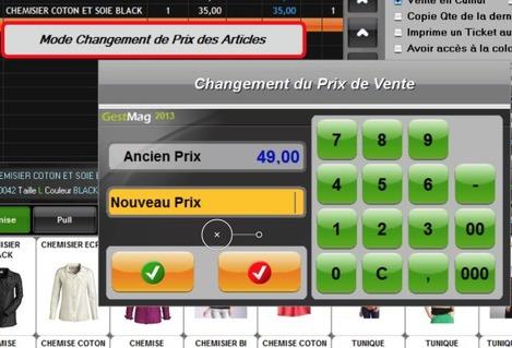 Logiciel de caisse Gestmag 2013: modification des prix en caisse