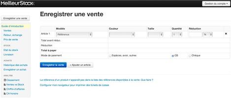 MeilleurStock, logiciel de caisse en ligne (web)