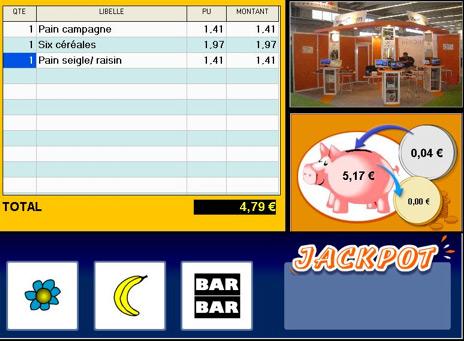 Tirelire et jackpot sur l'écran client de Mencom