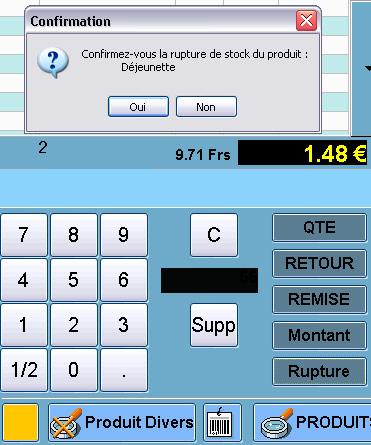 Rupture de stock définie dans l'écran de caisse