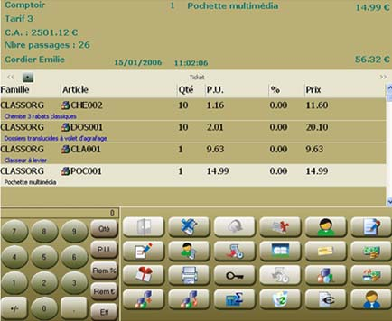 logiciel de caisse ebp point de vente: la caisse tactile