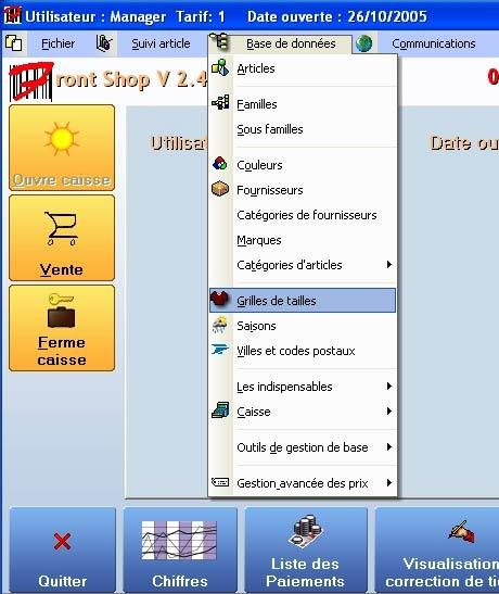 logiciel de caisse front shop: le menu