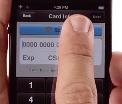 Scannez la carte bancaire avec PayPal Here