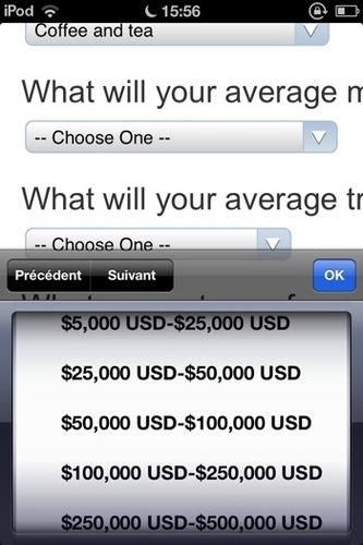 PayPal Here: sélection de la tranche de chiffre d'affaires prévu
