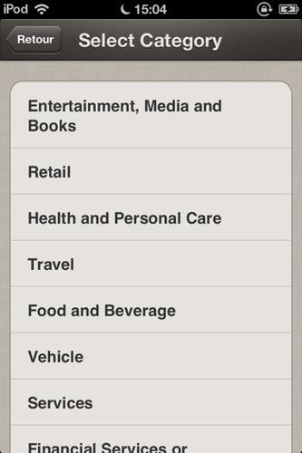 PayPal Here: sélection d'une catégorie de commerce